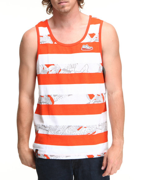 Akademiks Men Orange,White Horse Tank Top
