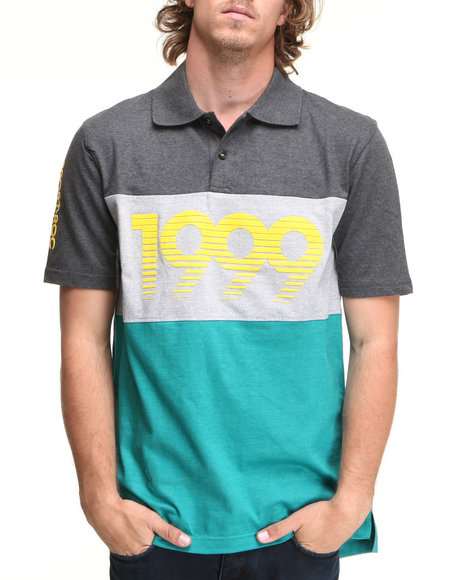 Rocawear Men Marled Stripe Polo Green Xx-Large