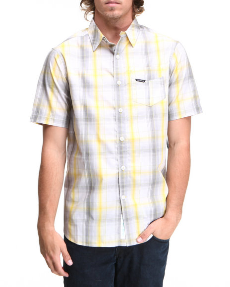 Rocawear Men Yellow Gradient Plaid S/S Button-Down
