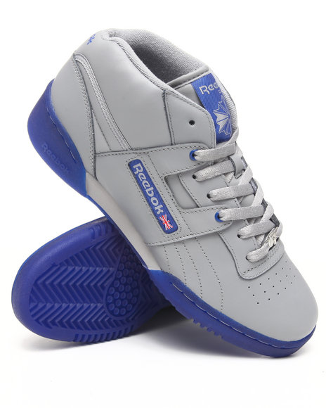 Reebok Men Grey Workout Mid R12 Ice Bottom Sneakers