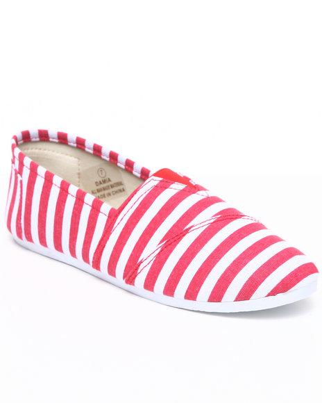 Apple Bottoms Women Red,White Damia Stripe Canvas Sneaker