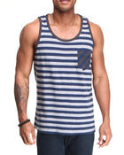 Men - Body Striped Sideways Pocket detail Tank Top