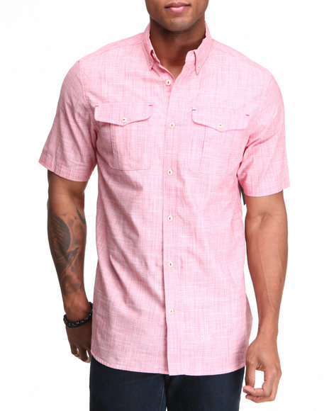 Rocawear Men Red Slub Poplin S/S Button-Down