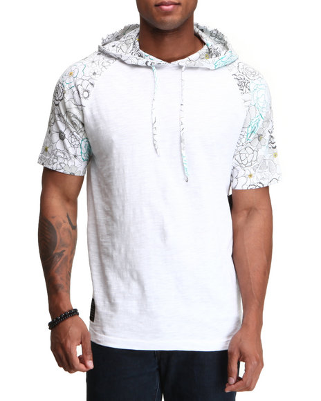 Rocawear Men White Floral Print S/S Hooded Raglan Shirt