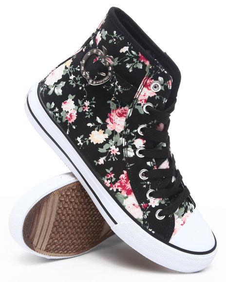 Apple Bottoms Women Black Blueberry Floral Sneaker