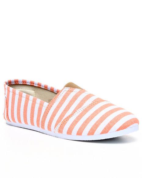 Apple Bottoms Women Orange,White Damia Stripe Canvas Sneaker