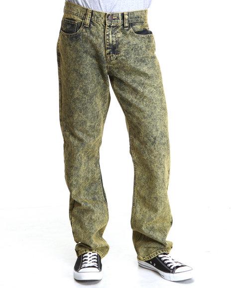 Buyers Picks Men Stone Washed Slim Straight Fit Denim Jeans Yellow 42x34