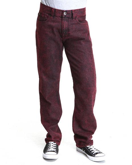 Buyers Picks Men Stone Washed Slim Straight Fit Denim Jeans Crimson 42x34