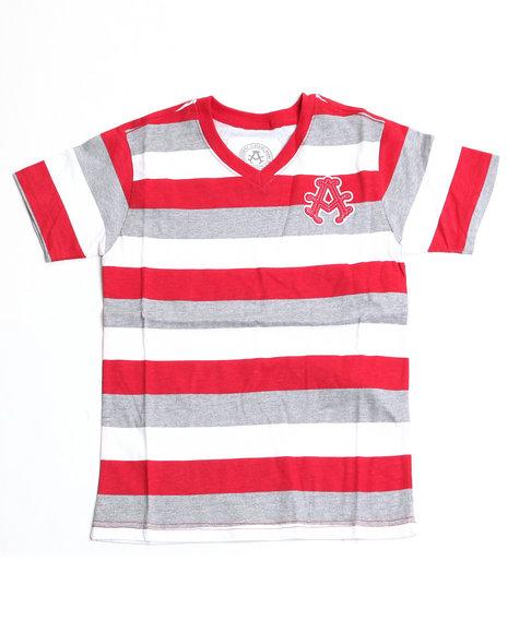 Akademiks Boys Red Basic Striped V-Neck Tee (4-7)