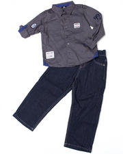 2T-4T Toddlers - 2pc Indy Solid Woven Set (TOD)