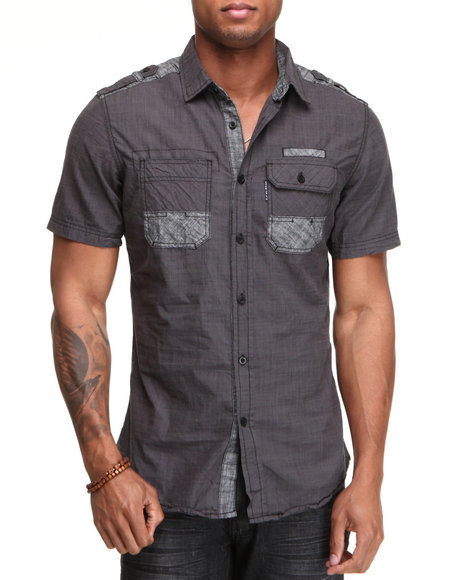 Ecko Men Black Done Again Short Sleeve Button-Down