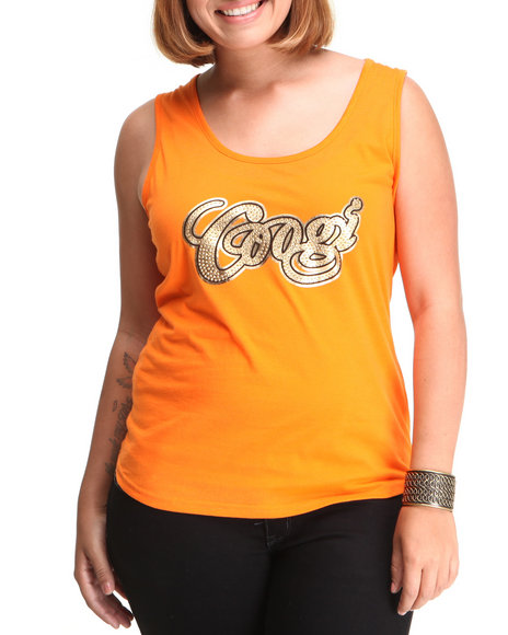 COOGI Women Orange Coogi Gold Printed Tank Top (Plus Size)