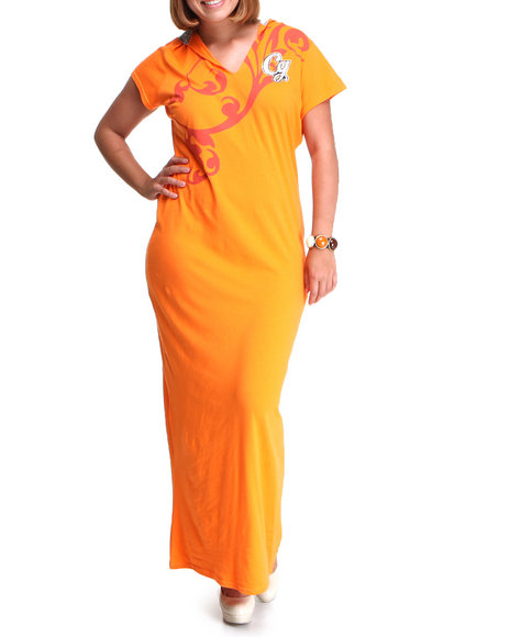 COOGI Women Orange Coogi Short Sleeve Maxi Dress W/Hood (Plus)