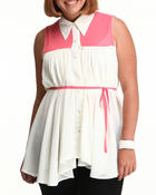 Polos & Button-Downs - Color blocked sleeveless tunic top w/belt (PLUS)