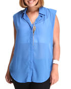 Tops - Sleeveless chiffon tunic top (Plus)