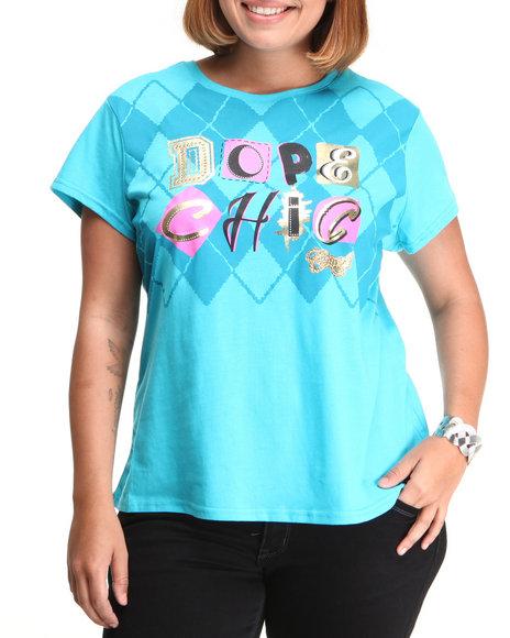 COOGI Women Teal Dope Chick Tee W/Print (Plus Size)