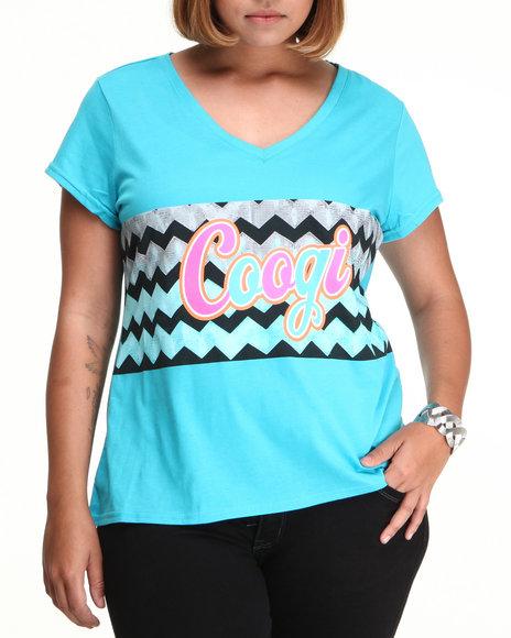 COOGI Women Light Blue Coogi Sweater Print V-Neck Tee Shirt (Plus Size)