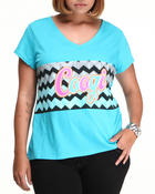 Tops - Coogi Sweater Print V-Neck Tee Shirt (plus)