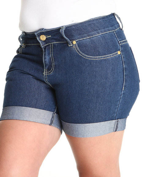 COOGI Women Blue Coogi Long Jean Rollup Shorts (Plus Size)