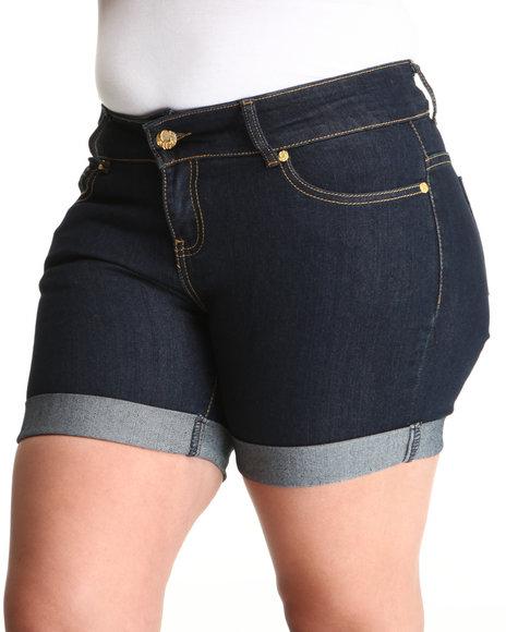 COOGI Women Indigo Coogi Long Jean Rollup Shorts (Plus Size)