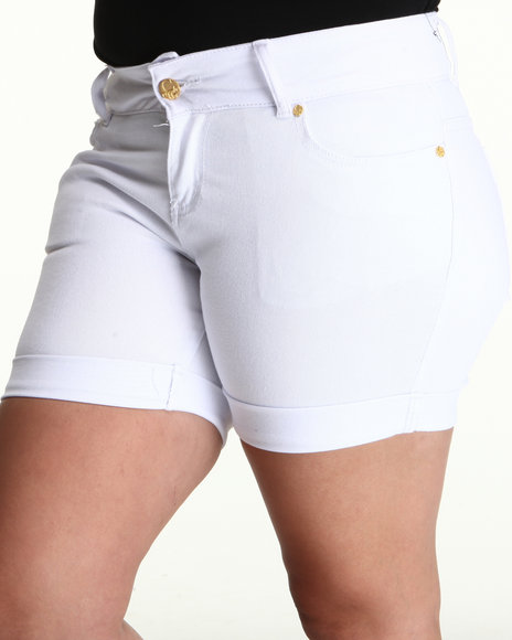 COOGI Women White Coogi Long Jean Rollup Shorts (Plus Size)