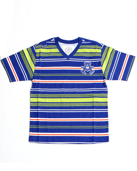 Akademiks Boys Blue Engineered V-Neck Tee (4-7)