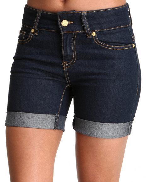COOGI Women Indigo Coogi Long Jean Rollup Shorts