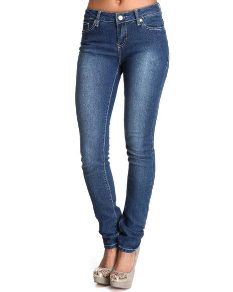 COOGI Women Blue Zig Zag Back Pocket Skinny Jean