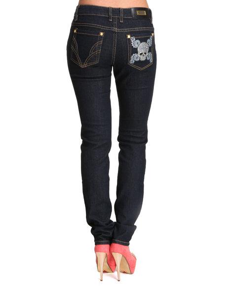 COOGI Women Dark Wash Coogi Skull Pocket Detail Skinny Jeans