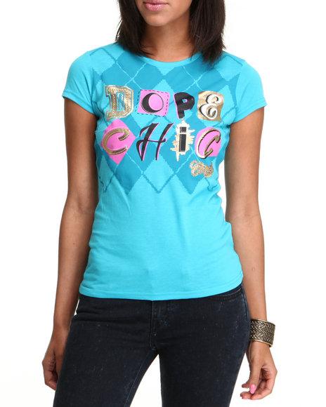 COOGI Women Light Blue Dope Chick Tee W/Print