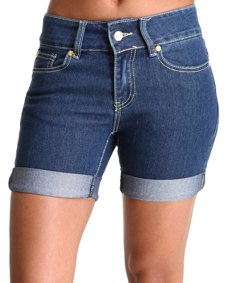 COOGI Women Blue Coogi Long Jean Rollup Shorts