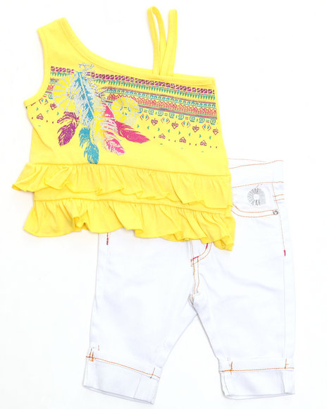 Akademiks - Girls Yellow 2 Pc Set - Top & Capri (Newborn)