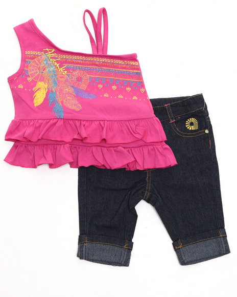 Akademiks Girls Pink 2 Pc Set - Top & Capri (Newborn)