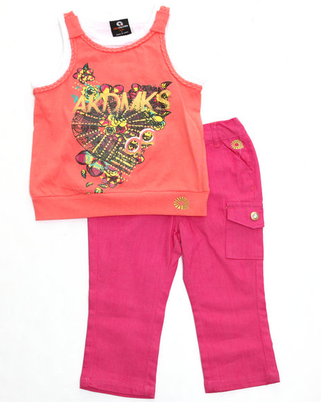 Akademiks - Girls Orange 2 Pc Set - Top & Capri (Infant)