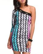 COOGI - The Sweater Group Zigzag Printed one shoulder long sleeve Dress