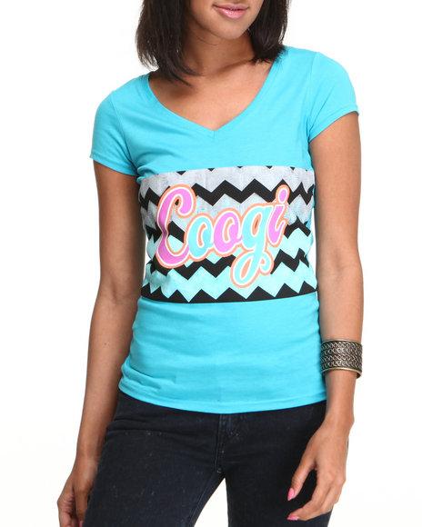 COOGI Women Light Blue Coogi Sweater Print V-Neck Tee Shirt