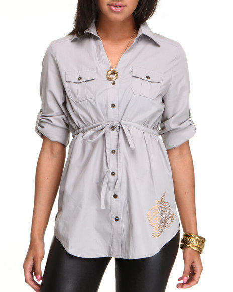 Apple Bottoms Women Grey Drawstring Woven Tunic Top