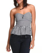 Fashion Lab - Stripe TUBE Top w/button details