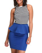 Fashion Lab - Shortsleeve stripe bodice dress w/peplum detal