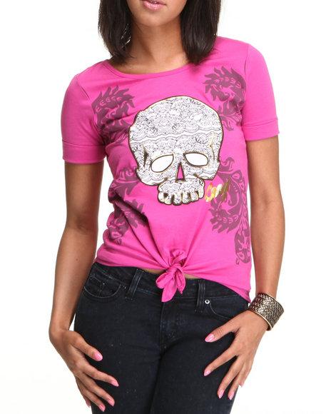 COOGI Women Pink,Purple Coogi Skull Print Tee W/Front Tie