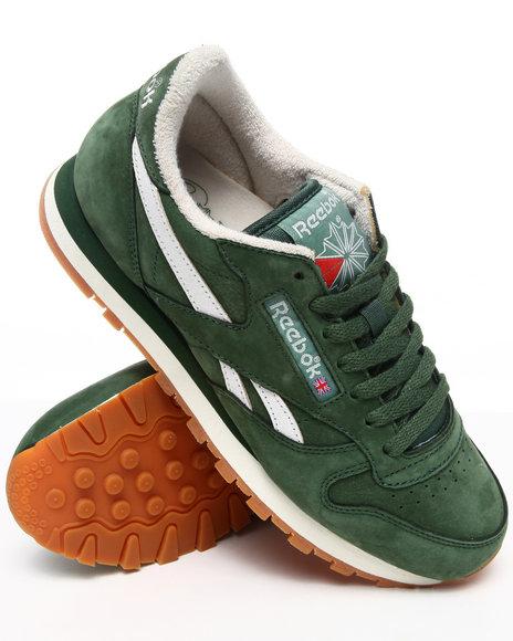 Reebok Men Green Classic Leather Vintage Sneakers