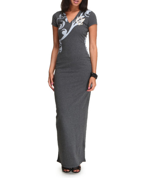 COOGI Women Grey Coogi Short Sleeve Maxi Dress W/Hood