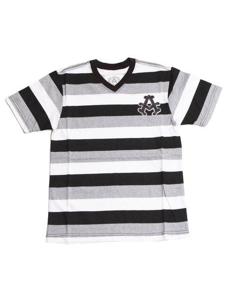 Akademiks Boys Black Basic Striped V-Neck Tee (8-20)