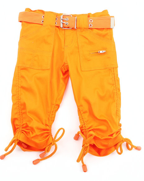 La Galleria Girls Porkchop Pocket Ruched Capris 46X Orange 5