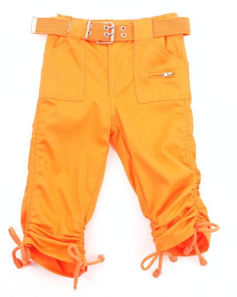 La Galleria Girls Porkchop Pocket Ruched Capris 2T4T Orange 2T