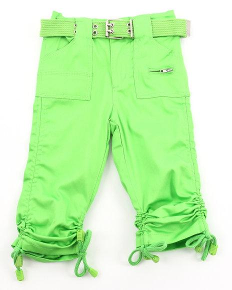 La Galleria Girls Porkchop Pocket Ruched Capris 2T4T Green 2T