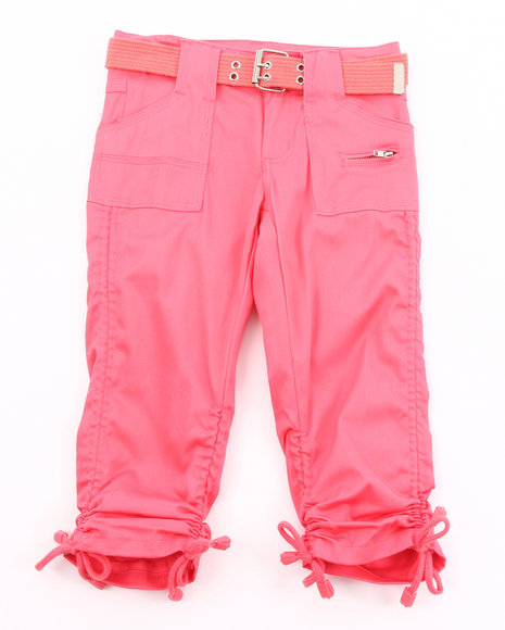 La Galleria Girls Dark Pink Cargo Ruched Capris (7-16)