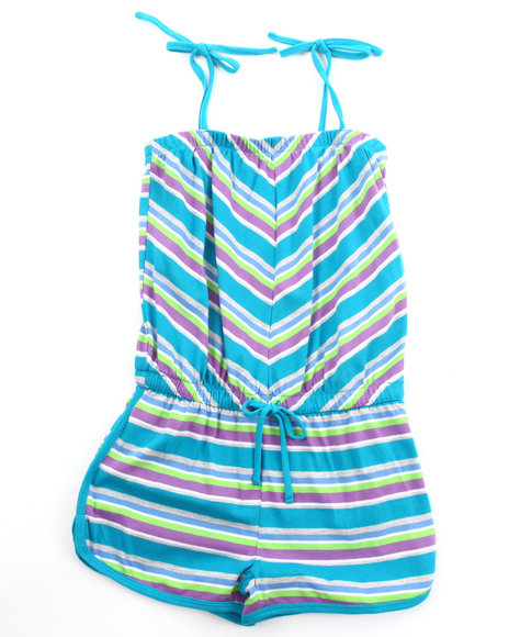 La Galleria Girls Chevron Stripe Romper 716 Teal 78 S