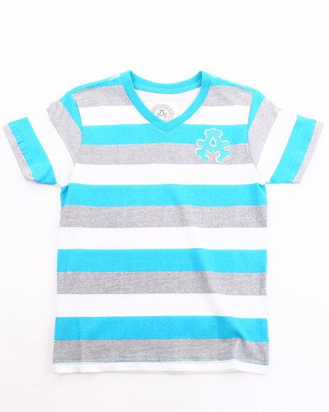 Akademiks Boys Teal Basic Striped V-Neck Tee (4-7)