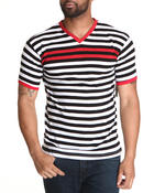 T-Shirts - Striped Vneck Tee